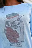 Женская стильная кофта свитер коттон+акрил рукав 3/4 размер универсальный 48-52, фото 8