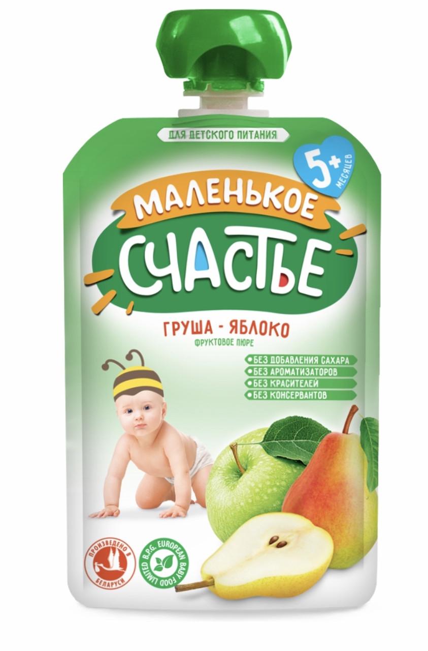 """Пюре фруктовое яблоко-груша """"Маленькое счастье"""" 90 гр с 5 мес"""