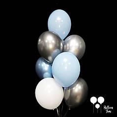 Связка шаров в голубых и серебряных тонах