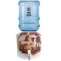 Керамічний диспенсер для води «Птахи Шамот», фото 1