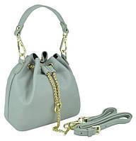 Женская кожаная сумочка-кисет серая Riche W14-2126G, фото 1