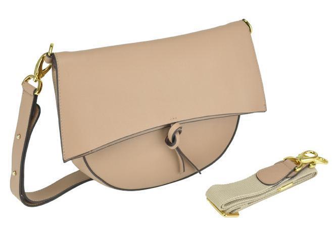 Женская кожаная сумка полумесяц фолдовер бежевая UnaBorsetta W12-830S-BG