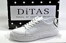 Жіночі білі шкіряні кеди Ditas, White, фото 3