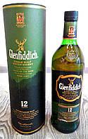 Шотландский одно солодовый виски Glefiddich 12 YO 1л в подарочном тубусе