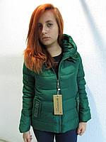 Куртка осенняя женская 18401 зеленая код 639а