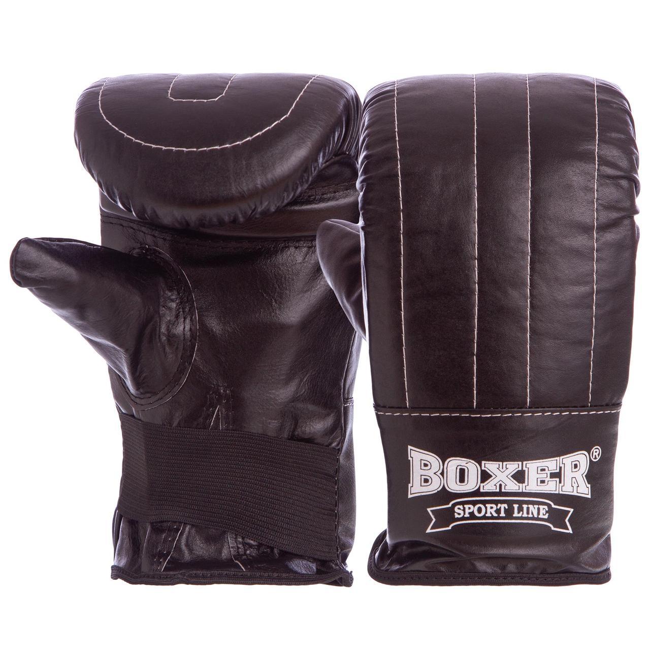 Снарядные перчатки кожаные BOXER Тренировочные (р-р L, цвета в ассортименте)