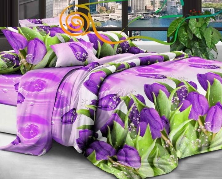 Комплект постельного белья  Бязь GOLD 100% хлопок Сиреневые тюльпаны