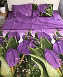 Комплект постельного белья  Бязь GOLD 100% хлопок Сиреневые тюльпаны, фото 2