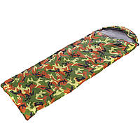 Спальный мешок одеяло с капюшоном камуфляж (PL,хлопок, 250г на м2,р-р 190+30х75см, t+15 до 0)