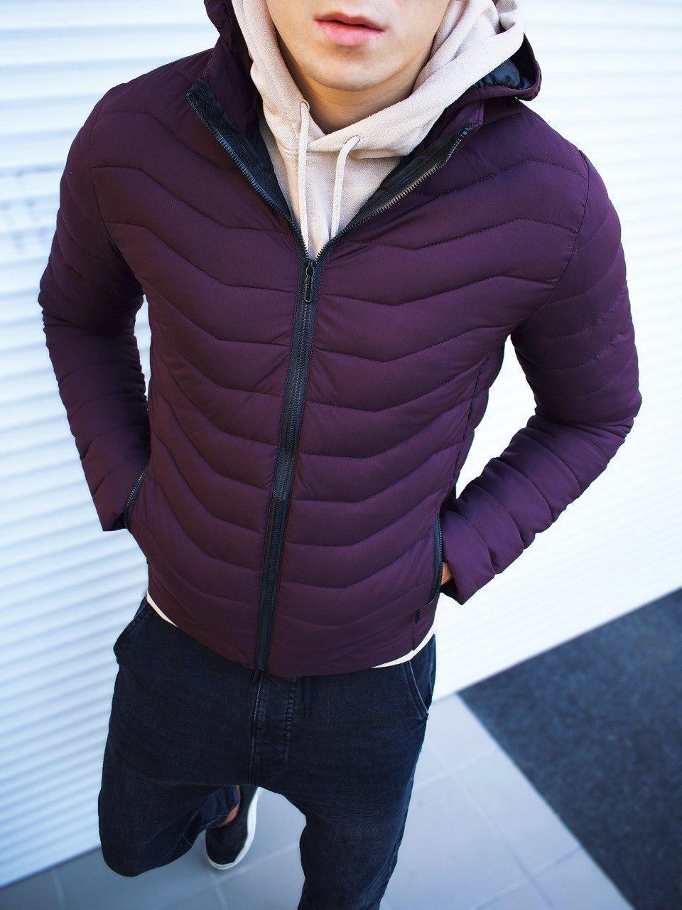 Мужская куртка капюшон стеганая бордо