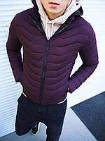 Мужская куртка капюшон стеганая бордо, фото 1