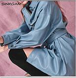 Рубашка женская из искусственной кожи с поясом в стиле Zara. Куртка рубашка кожаная для женщин (голубая) M, фото 5