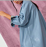 Рубашка женская из искусственной кожи с поясом в стиле Zara. Куртка рубашка кожаная для женщин (голубая) M, фото 3