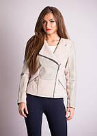 Стильное женское кашемировое пальто на молнии с вставками из кожи