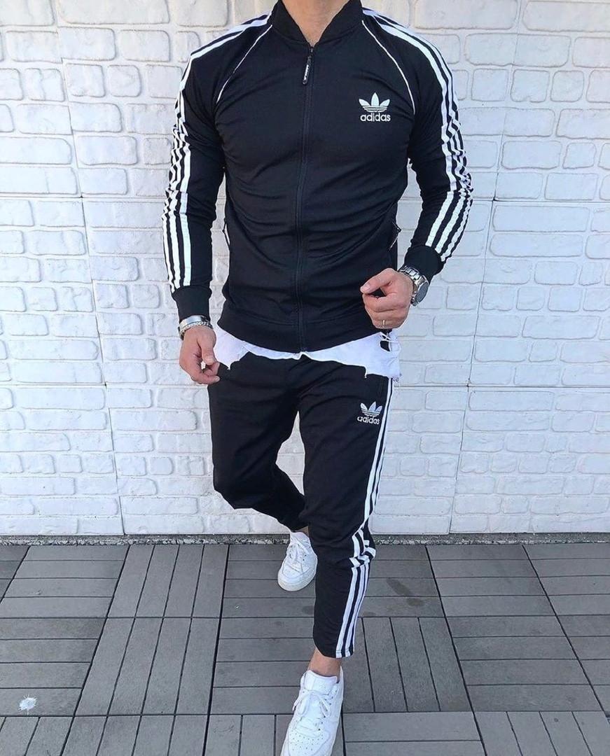 Adidas мужской спортивный костюм черный демисезонный Костюм спортивный мужской Adidas весна осень на молнии