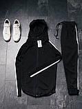 Asos мужской спортивный черный костюм с капюшоном осень-весна Костюм мужской черный демисезонный на молнии, фото 2