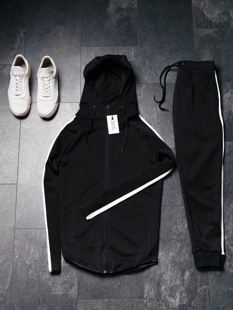 Asos чоловічий чорний спортивний костюм осінь-весна з лампасом Костюм чоловічий демісезонний з капюшономна