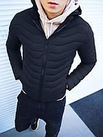 Мужская куртка капюшон стеганая черная, фото 1