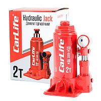 Домкрат бутылочный 2 т 148-278 мм для легкового авто Carlife гидравлический телескопического вида (BJ402)