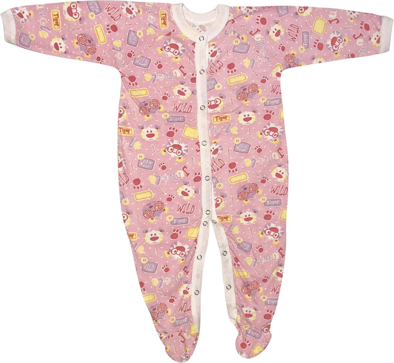 Детский тонкий человечек рост 80 9-12 мес хлопковый кулир розовый на девочку слип для новорожденных малышей Ш190