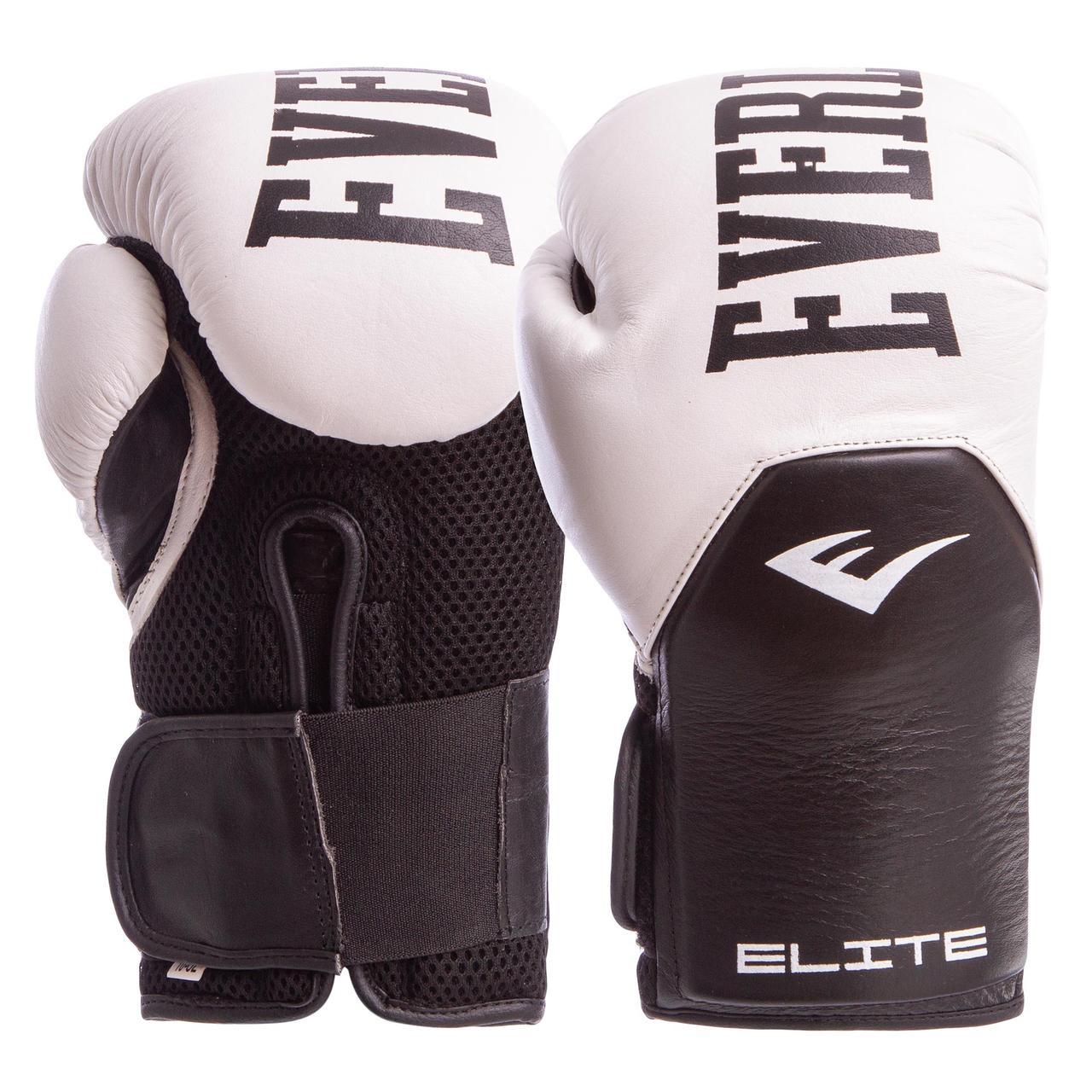 Перчатки боксерские кожаные на липучке ELS (р-р 10-14oz, цвета в ассортименте)