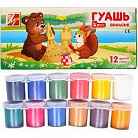 "Гуаш Луч ""Зоо"" (Мини), 12 цв, 15 мл, блок-тара"