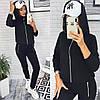 Стильный модный женский черный спортивный костюм с капюшоном на кофте р.42-46. Арт-1134/50