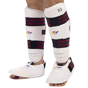 Защита голени с футами для единоборств PU WTF (р-р XS-XL, белый-черный-красный)