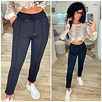 Стильные молодежные женские трикотажные прогулочные брюки с карманами (р.42-48). Арт-1135/50, фото 1