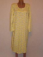 Сорочка женская начес длинный рукав на кокетке с оборкой