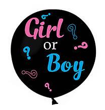 """Латексна кулька пастель Чорний 31""""/14 GEMAR + написи на визначення статі дитини Boy or Girl з оракалу ТМ Star"""""""