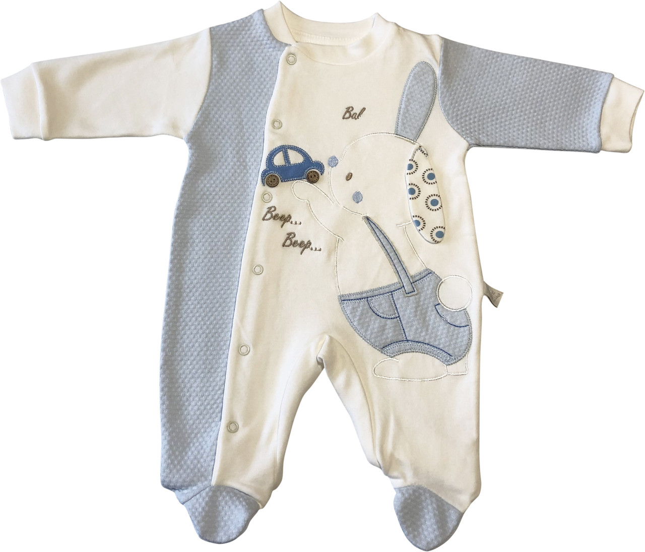 Детский нарядный человечек рост 56 0-2 мес трикотажный молочный на мальчика слип для новорожденных малышей ТН164