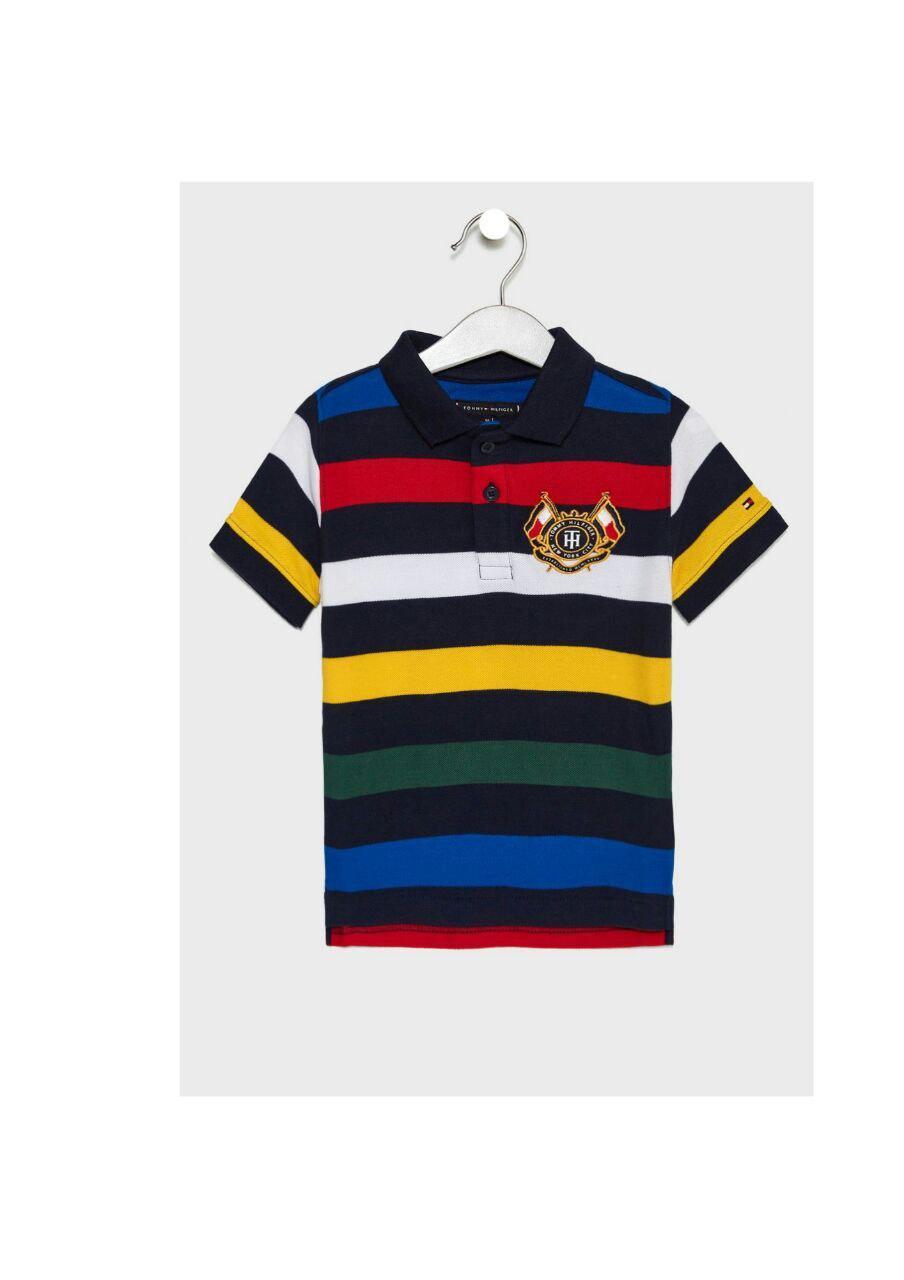 Футболка мужская TOMMY HILFIGER цвет темно-синий- красный-желтый,зеленый размер 170 арт KB0KB04328-2