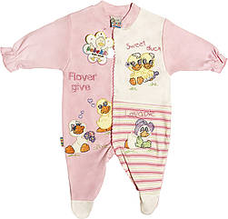 Детский человечек рост 56 0-2 мес трикотажный розовый на девочку слип для новорожденных малышей ТН116