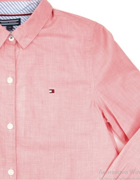 Рубашка для девочки TOMMY HILFIGER цвет розово-белый размер 108 арт KG0KG03415-608