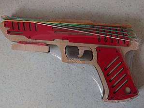 Деревянный пистолет красный №1