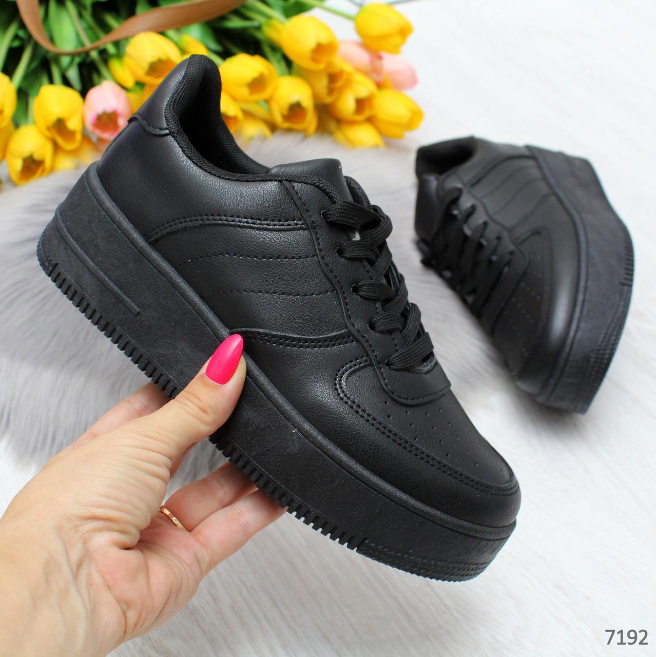 Повседневные молодежные черные женские кроссовки кеды криперы