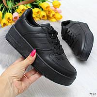 Повседневные молодежные черные женские кроссовки кеды криперы, фото 1