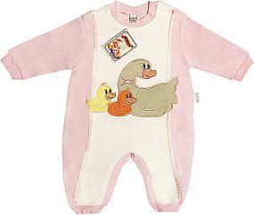 Детский человечек рост 56 0-2 мес трикотажный розовый на девочку слип с открытыми ножками для новорожденных малышей ТН118