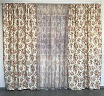 Шторы «Прованс» ткань атлас цветочный принт 150*270см. 2шторы с тюлью 1'295грн