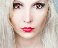 Красные линзы для глаз. Цветные красные линзы с черным ободком. Цветные линзы на Хеллоуин. Крейзи линзы