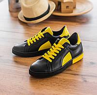 Кеды женские кожаные черные с желтыми вставками весна/осень (натуральная итальянская кожа) на шнуровке