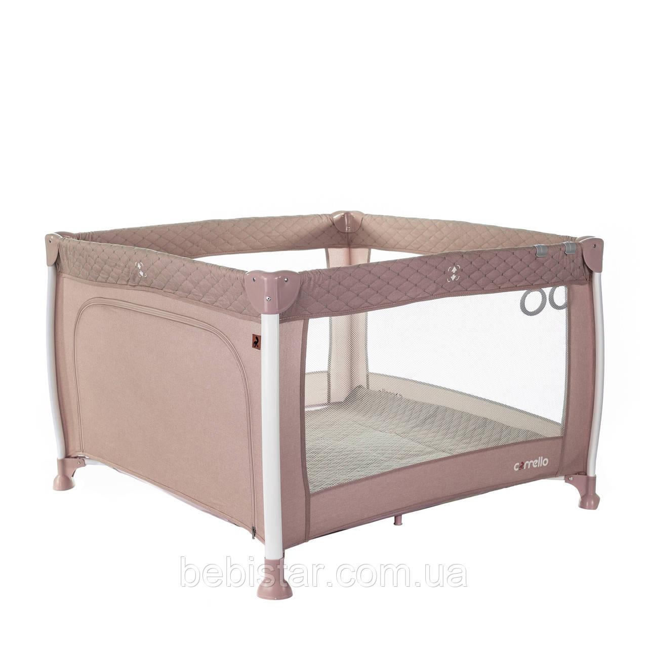 Детский манеж розовый Carrello Cubo прицепные кольца сумка матрасик дверца на молнии рождения до 3-х лет