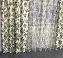 Шторы атлас «Прованс» цветочный принт 150*270см. 2 шторы с тюлью 1'295грн