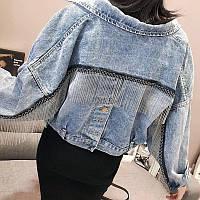 Куртка женская джинсовая укороченная с бахромой. Коттоновый пиджак оверсайз (голубой), фото 1
