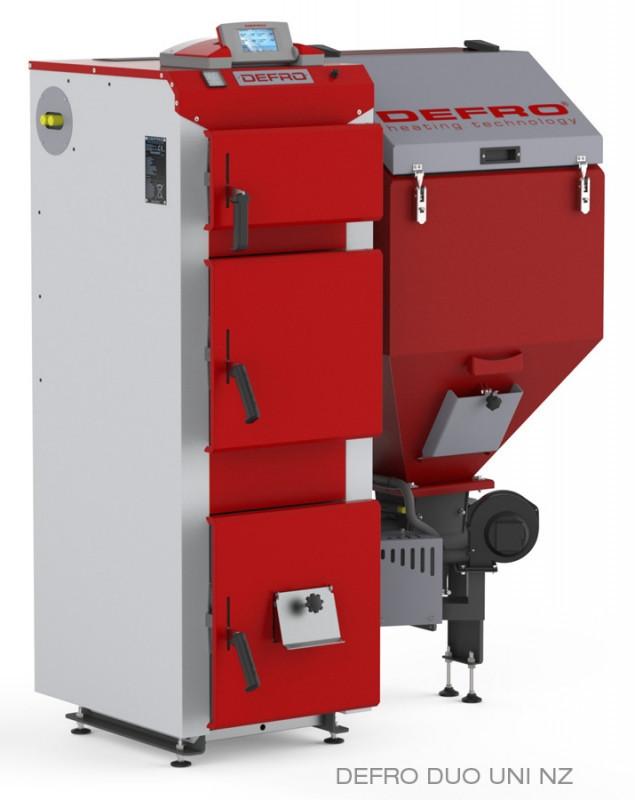 Котел твердотопливный DEFRO DUO UNI 35 кВт. красно-серый
