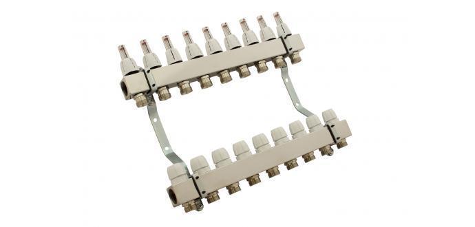 Коллектор с расходомерами для теплого пола CAPRICORN из нержавейки на 3 контура металлик