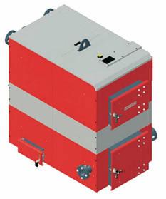 Котел твердотопливный DEFRO OPTIMA PLUS MAX (с автоматикой) 125 кВт. красно-серый