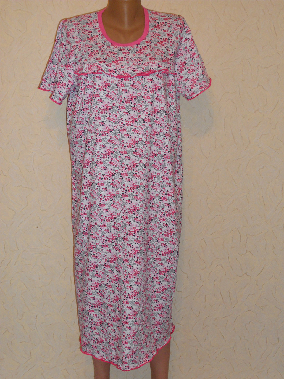 Сорочка женская с оборкой короткий рукав хб в мелкий цветочек