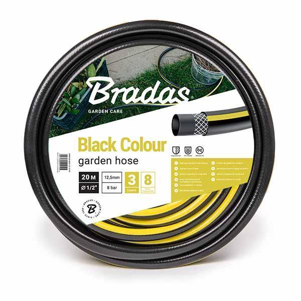 Шланг для полива BLACK COLOUR BRADAS (чорный с жолтой полосой)   3/4     (бухта 50м.), цена за бухту